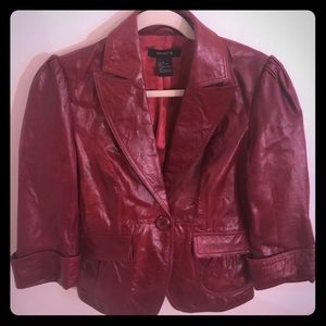 100% Lamb Leather fitted Red Jacket